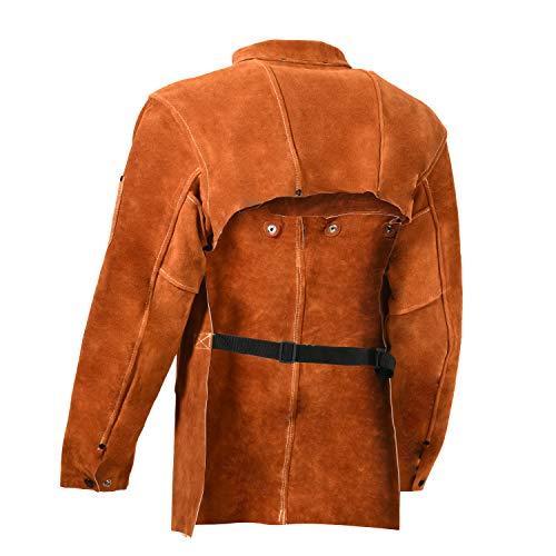 Leaseek Leather Welding Jacket - Heavy Duty Welding Apron with Sleeve (X-Large) by LeaSeeK (Image #3)
