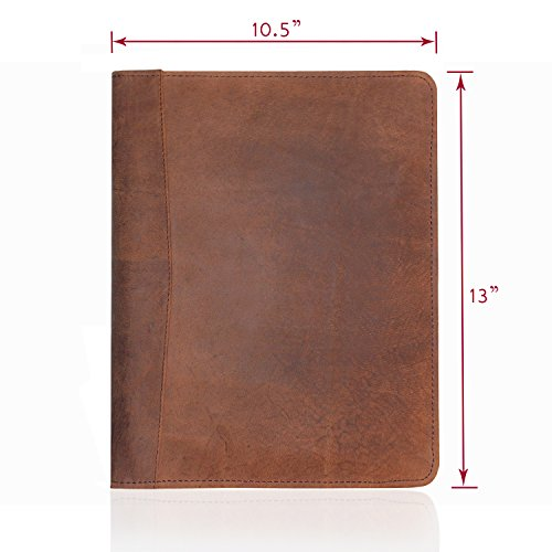 JYOS Leather Portfolio Professional Resume Padfolio - Document Folder & Organizer Folio for Letter-Sized/A4 Writing Pad with Business Card Holder, Ideal Gift Portfolios for Men + Women (Russet Brown)