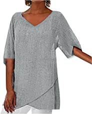 Plus Size Tops for Women Summer Casual Blouses Short Sleeve V Neck T Shirts Fashion Solid Color Tunic Tops