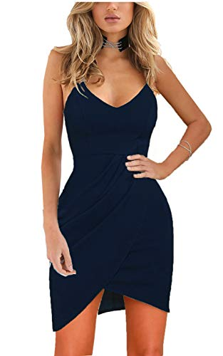 Zalalus Women's Bodycon Cocktail Party Dresses Deep V Neck Backless Spaghetti Straps Sexy Summer Short Casual Club Sundress Above Knee Length Sleeveless Navy Blue Medium