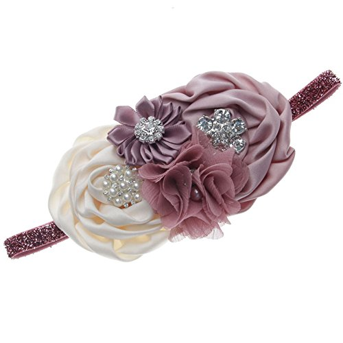 FloYoung Handmade Satin Ribbon Flower Baby Headbands for Kids Accessoires Pale Mauve