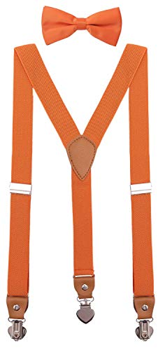 (SUNNYTREE Baby Boys' Suspenders Adjustable Y Back with Bow Tie Set for Wedding Party 24 inches Orange)
