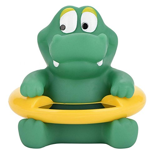 Baby Bath Thermometer, LED Temperature Display Floating Cute Animal Thermometer Floating Toy (Green Alligator)