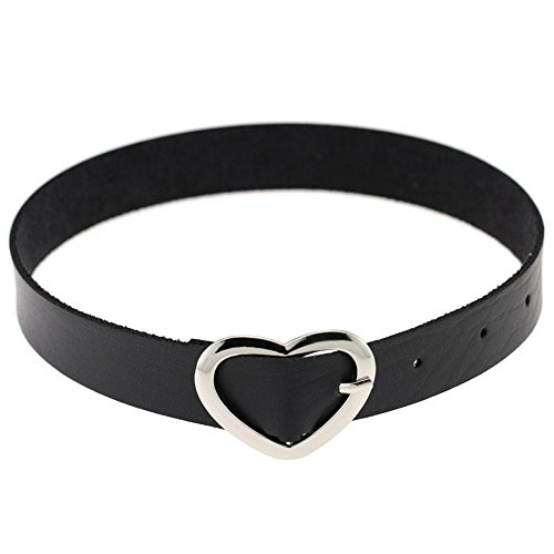 Xinhongg Women Favorite Fine Jewelry Vintage Bijoux Funky Collar Choker Necklace Punk Goth Style PU Leather Heart Ring