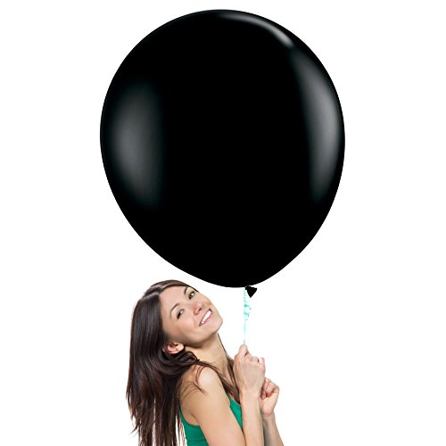 36 Inch (3 ft) Giant Jumbo Latex Balloons (Premium Helium Quality), Pack of 12, Regular Shape - Onyx Black, for Photo Shoot/Birthday/Wedding Party/Festival/Event/Carnival ()