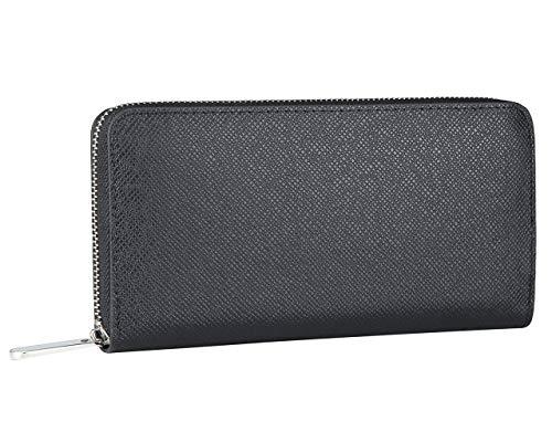 Louis Zippy Vuitton Organizer (Miracle Saffiano Leather Zip Around Wallet | RFID Blocking | Phone Clutch/Card Holder/Cash Organizer | Men Women(Night Black))