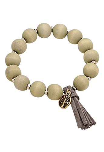 Chunky Wood Bead (Rosemarie Collections Women's Wood Bead Stretch Bracelet