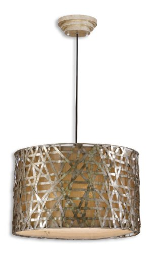 Uttermost Alita Champagne - Silver Leaf Black Alita 3 Light Metal Hanging Shade Pendant From The Naturals Collection