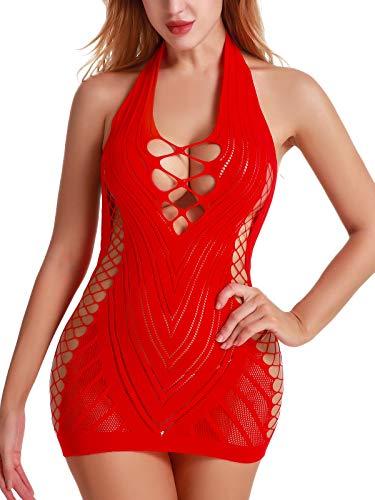 FasiCat Women Fishnet Babydoll Lingerie Chemise Halter Nightwear Mini Teddy Dress -