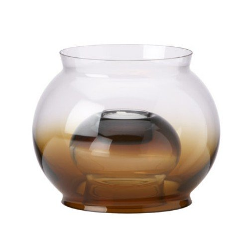 DANSK CRYSTAL GLASSCAPES HURRICANE W/ SMALL TEALIGHT AMBER