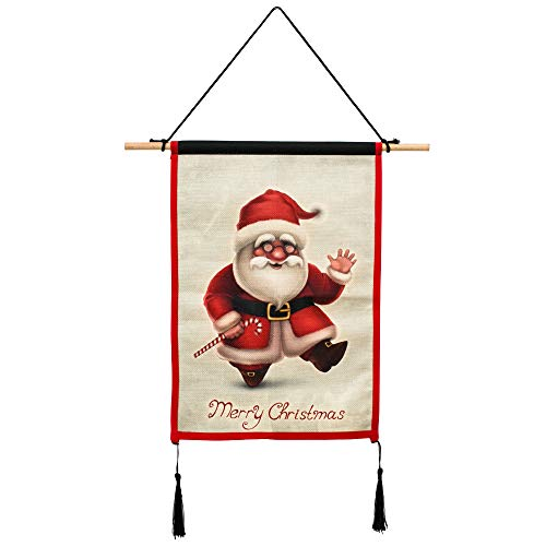 INART Merry Christmas Prints Wall Hanging Art Small Christmas Decoration Tapestry (Santa Claus) ()