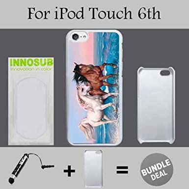 Two Beautiful Horse Beach Custom iPod 6/6th Generation Cases-Black-Plastic, Bundle 2in1 Comes with Custom Case/Universal Stylus Pen by innosub
