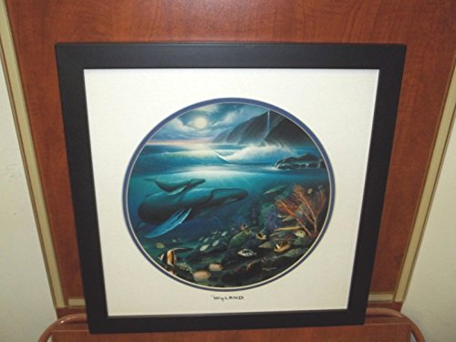 By Wyland Double Matted Silver Foil Stamp Whales Framed in Black
