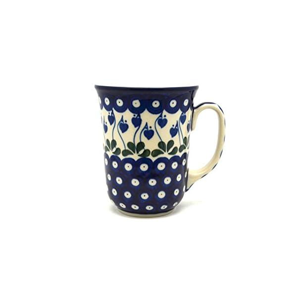 Polish Pottery Bistro Mug – 16 Oz – Bleeding Heart