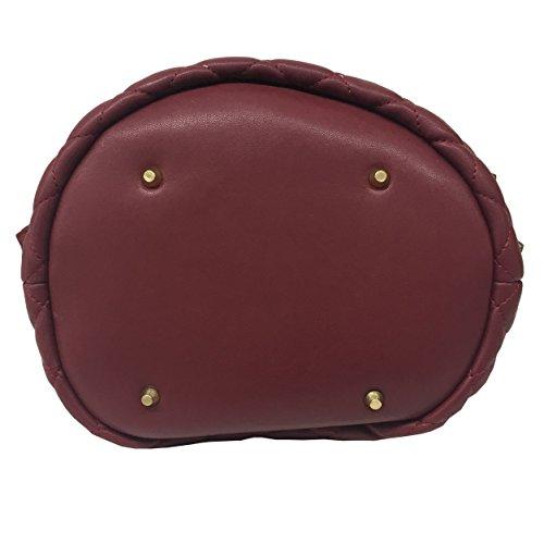 LA CARRIE BAG borsa donna bordeaux con applicazioni oro art 172-B-140-EP/BUR CHESTER SECCHIELLO 100% ecopelle