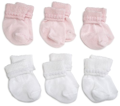 Jefferies Socks Rock-A-Bye Bootie, 6 Pack, White/Pink, 0-9 Months]()