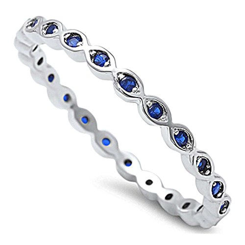 2mm Full Eternity Stackable Band Ring Round Simulated Blue Sapphire 925 Sterling Silver ()