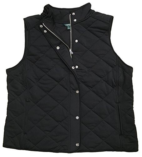 Lauren Ralph Lauren Plus Size Stretch Jersey Quilted Vest (2X, Polo Black) - Jersey Quilted Vest