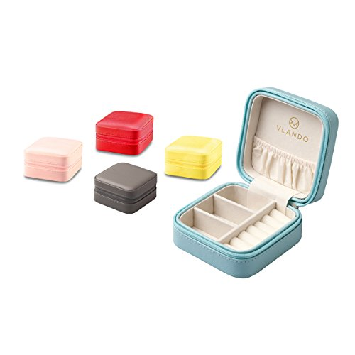 Vlando Small Faux Leather Travel Jewelry Box Organizer Display