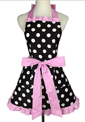 Kitchen Aprons Woman Retro Vintage Girl Polka Dot Cooking Pinafore Christmas Apron Dress (Dot Pink) -