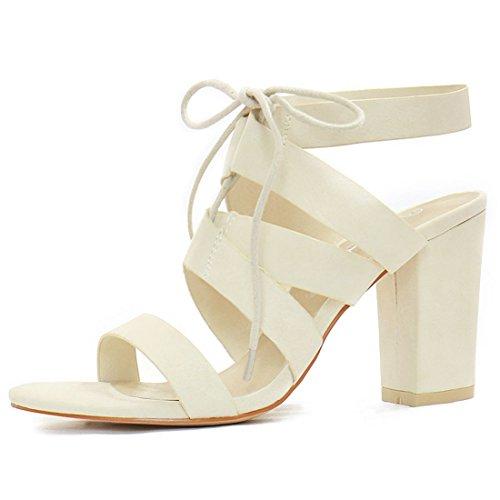 High Allegra up Lace Off Cutout K White Women's Sandal Heels BnqEpfZq