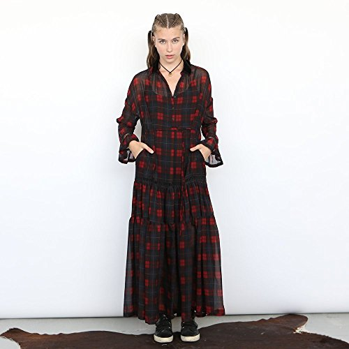 chiffon maxi Plaid dress by Naftul