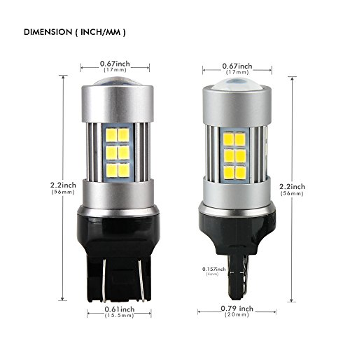 t20-7440-7443-bulb-led-for-brake-lights-or-reverse-parking-rear-sidemarker-turn-signal-night-time-driving-lights-6200k-white-with-projector-1600-lumens-48w-low-power-10-30v-pack-of-2