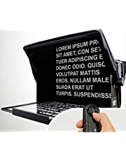 TeleprompterPAD iLight PRO 13'' Big Screen + Remote - 100x100 Aluminum - Compatible with iPad PRO/Android/Windows Tablet PC - Robust Professional Product - Multi Camera - HD Beamsplitter Glass - Made in Europe