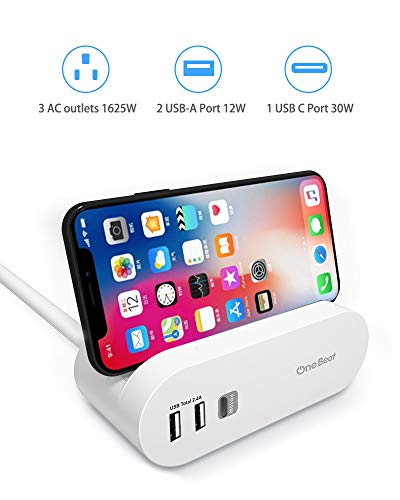 (USB C Power Strip with Power Delivery Charger, 3 Outlets & 3 USB Ports(1 30W PD, 2 USB-A 2.4A) Charging Station with Phone Holder Flat Plug 5ft Long Extension Cord for Home Office Travel)