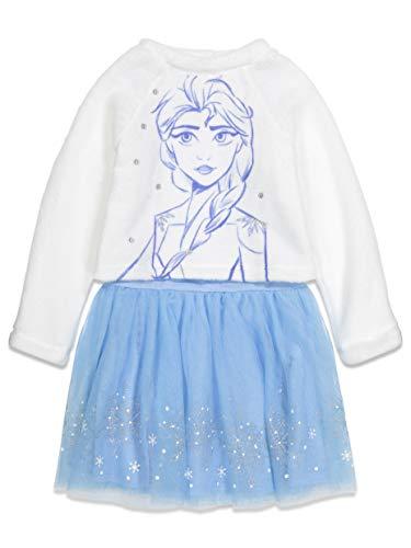 Cheap Frozen Dresses (Disney Frozen Elsa Little Girls Long Sleeve Dress Sherpa Fleece Blue/White)