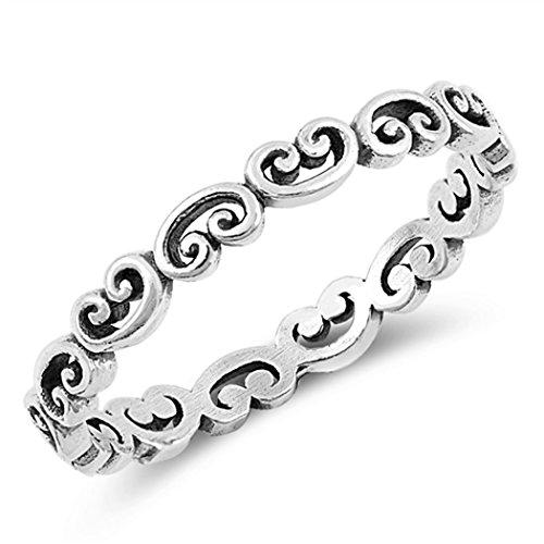 Sterling Silver Pattern Swirl Heart Ring (Size 3 - 10) - 3 -