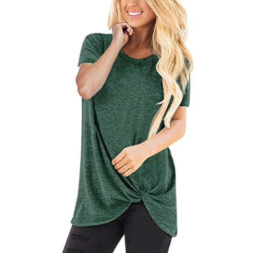 Mlide Round Neck Short Sleeve Top,Women Solid Color Twist Knotted Tops T-Shirt Loose Casual Sports Blouse (Green,Medium) ()