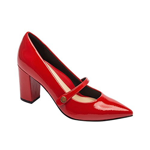 Flora | Pointy Toe Mary Jane Block Heel Vegan Pump Comfortable Insole Padded Arch Support Red Vegan Wrinkle Patent 9M ()