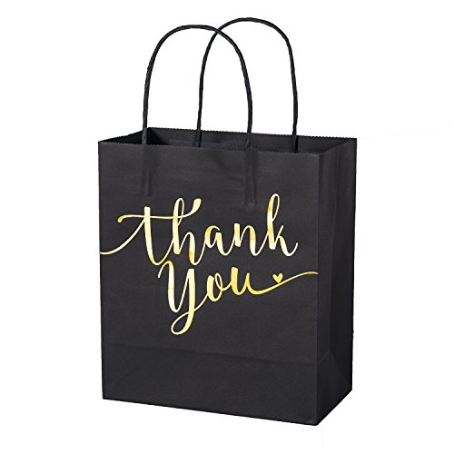 Lings Moment Set of 25 Black Gold Foil Thank You Gift Bags for Wedding Welcome Bags, Thanksgiving Christmas Holiday Party Business Gift Bags