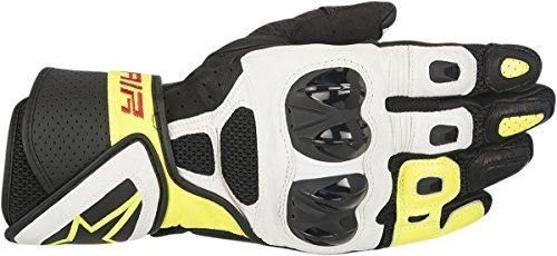 Alpinestars SP Air Leather Street Motorcycle Gloves Black/White/Yellow Mens Size 3XL