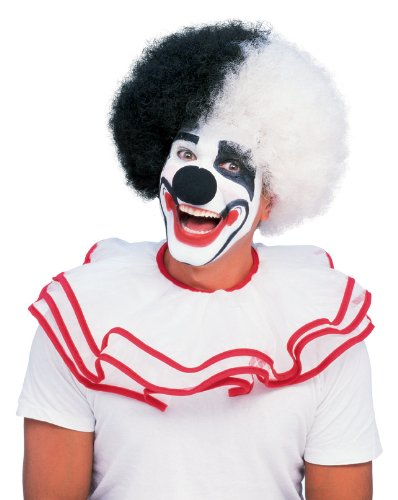 Rubie's Costume Deluxe Clown Wig, Black/White, One (Black And White Clown Costumes)