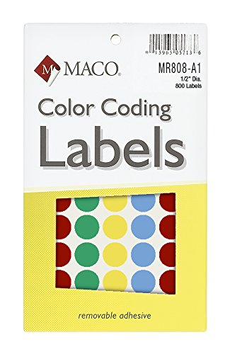 MACO Assorted Primary Round Color Coding Labels, 1/2 Inches in Diameter, 800 Per Box - A1 Canvas Blank