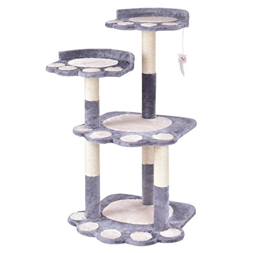 Tangkula Cat Tree Cat Tower with Scratching Posts Lovely Pet Furniture Kitten Activity Tower Condo (Grey)(42