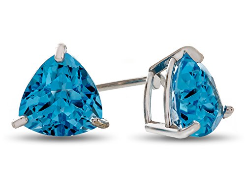 Finejewelers 7x7mm Trillion Swiss Blue Topaz Post-With-Friction-Back Stud Earrings 10 kt White ()
