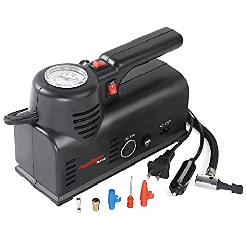 PowRyte Basic 120PSI Dual Power 12V DC or 120V AC Dial Tire Inflator- Portable Air Compressor with Carry - Electric Ball Inflator