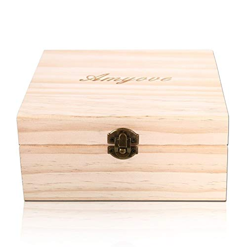 Creative 25 Slot Wooden Essential Oil Box, Holds 25 5-15 ml Roller Bottles Wooden Storage Case for Travel or Gift