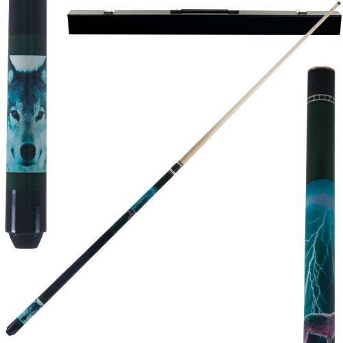 2 Piece Hardwood Lightning Wolf Design Pool Stick Cue - With Carrying Case! by TMG