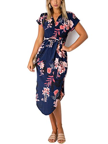 PORALA Womens Summer Dresses V-Neck Casual Geometric Pattern Midi Floral Print Belted Dress, Blue, XX-Large