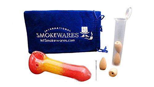 Glass Kit with Padded Pouch, Incense Down Draft, Smell Proof Water Tight Pop Top Tube Incense Holder, and Stainless Steel Pipe Cleaner Pick (Red Lava, 4 Inch)