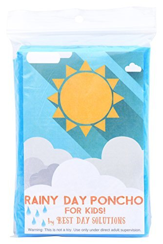 Rainy Day Poncho for Kids a Disposable Poncho Durable Enough to Wear Multiple Times, Good for Emergency Weather, Games, Hiking, Events and Theme Parks
