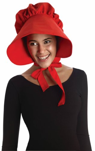 Forum Novelties Women's Colonial Bonnet Costume Accessory, Red, One (Historical Themed Halloween Costumes)