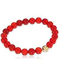 18k Yellow Gold Plated Bronze Genuine Red Agate 8mm Beaded Bracelet, 6.5""