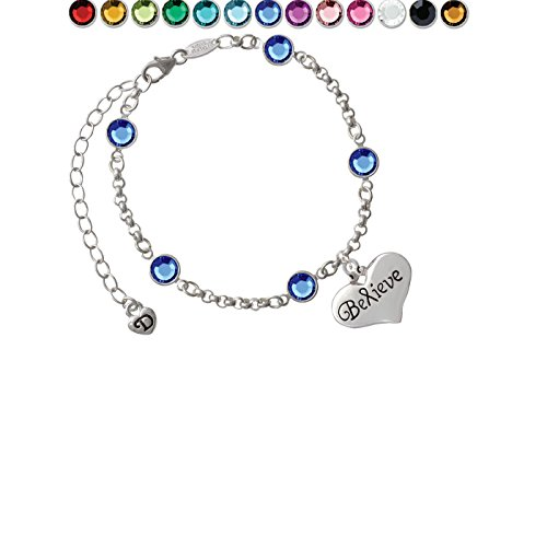 Large Believe with Ribbon Heart Custom Crystal Color Fiona Charm Bracelet