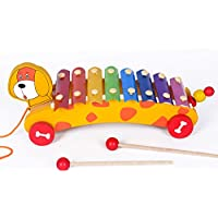FunBlast® 2 in 1 Animal Xylophone with Pull Along Wooden Toys for Kids, Wooden Xylophone for Kids, Available in 2 Variants (Dog)