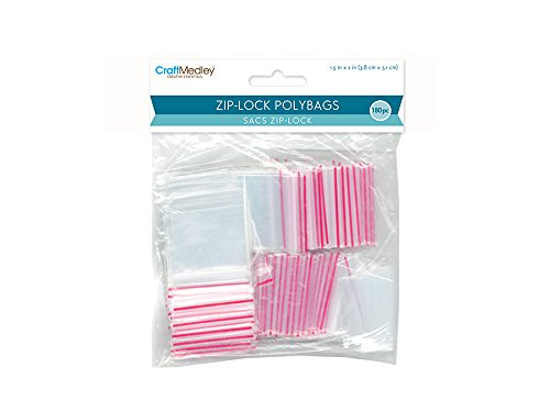 "Craft Medley PB001 180 Piece Zip-lock Polybags, 1.5"" by 2"""